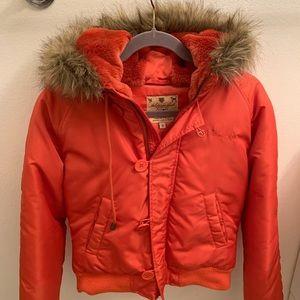 William Rast Orange Puffer Jacket